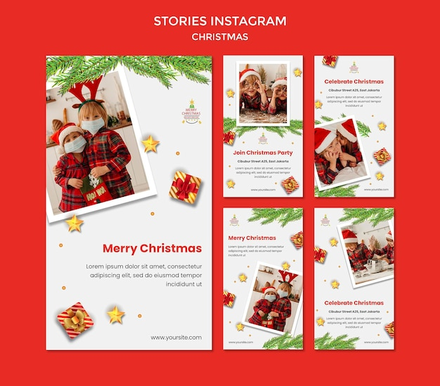 산타 모자를 쓴 아이들과 함께하는 크리스마스 파티를위한 Instagram 이야기 모음 프리미엄 PSD 파일