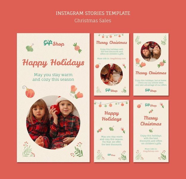 Коллекция историй instagram для рождественской распродажи с детьми Premium Psd