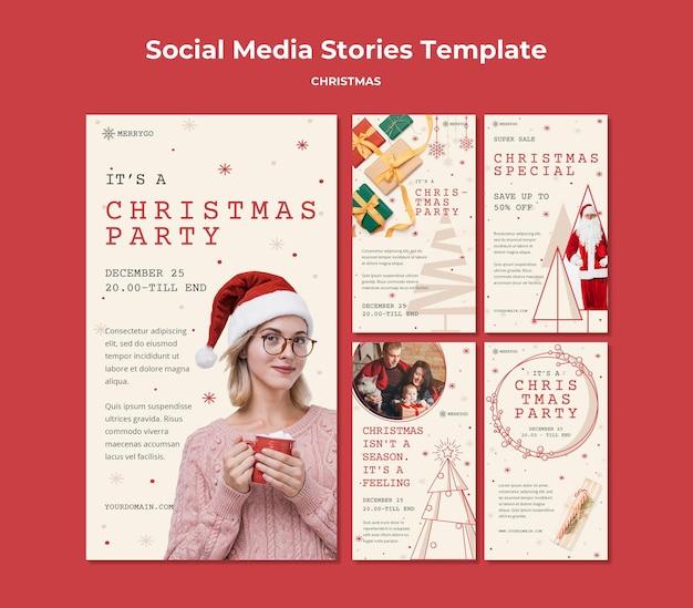 Коллекция историй instagram для рождественской распродажи Premium Psd