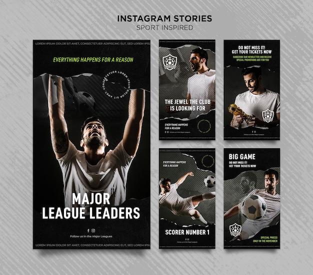 축구 클럽을위한 Instagram 이야기 모음 프리미엄 PSD 파일