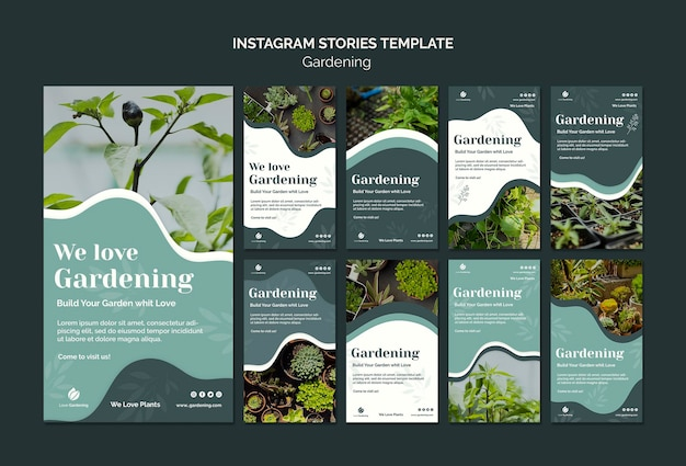 Сборник рассказов instagram для садоводства Бесплатные Psd