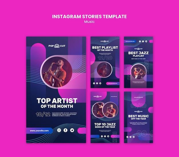 남성 재즈 플레이어와 색소폰으로 음악을위한 Instagram 스토리 모음 프리미엄 PSD 파일
