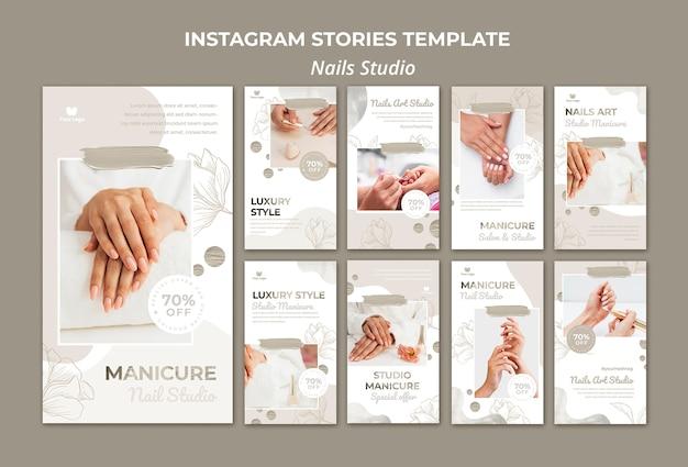 Коллекция историй из инстаграм для маникюрного салона Premium Psd