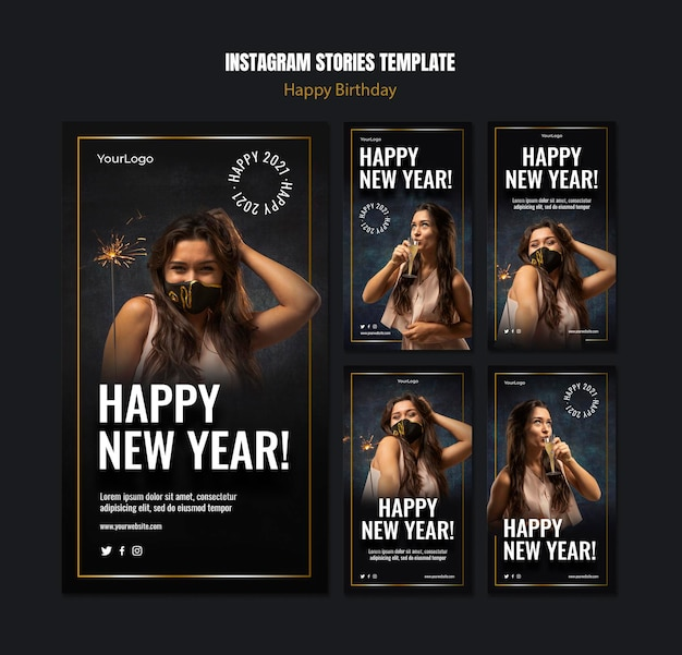 새해 축하를위한 Instagram 이야기 모음 프리미엄 PSD 파일