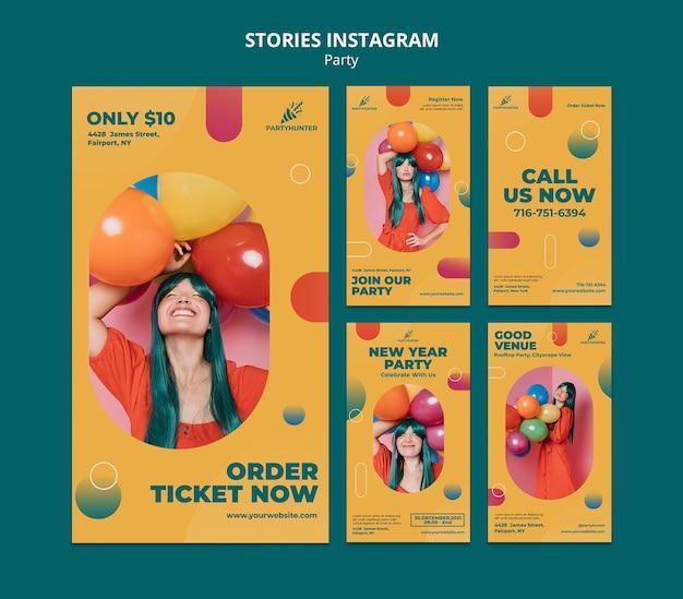 여자와 풍선으로 파티 축하를위한 Instagram 이야기 모음 프리미엄 PSD 파일