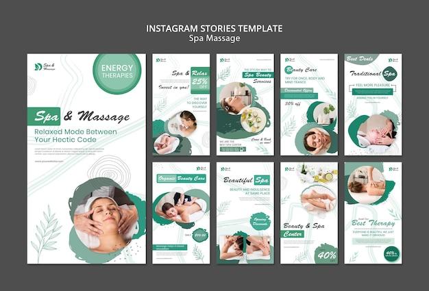Коллекция историй из инстаграм для спа-массажа с женщиной Premium Psd