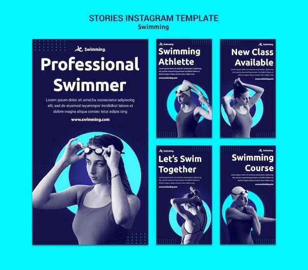 Коллекция историй из инстаграм для плавания с пловчихой Premium Psd