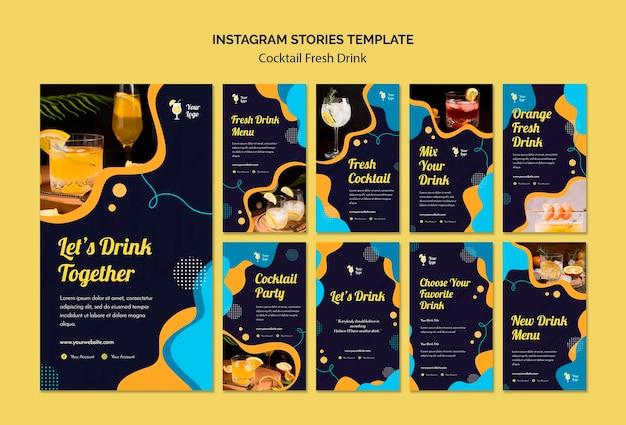 Коллекция историй из instagram для разнообразных коктейлей Бесплатные Psd