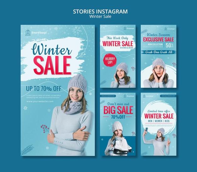 女性と雪片との冬の販売のためのinstagramストーリーコレクション Premium Psd