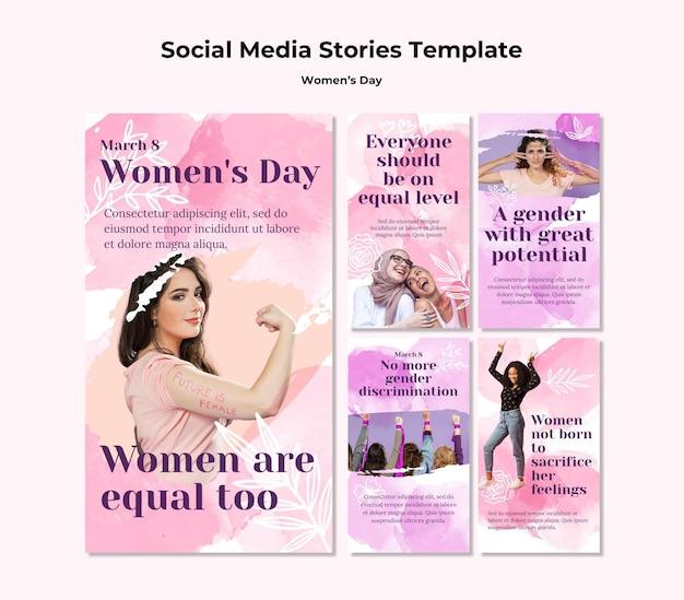 여성의 날 축하를위한 Instagram 이야기 모음 프리미엄 PSD 파일