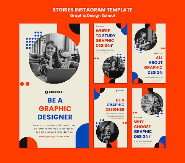 Instagram stories collection for graphic design school Premium Psd