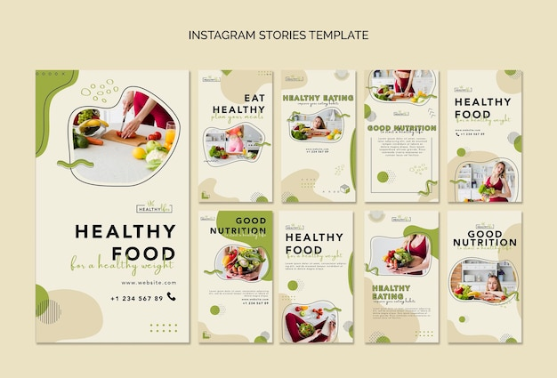 Instagram storiescollection for healthy nutrition Premium Psd