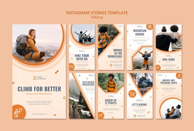 Instagram stories collection for hiking in nature Free Psd