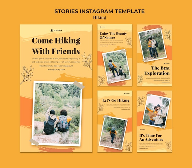 Instagram stories collection for hiking Premium Psd