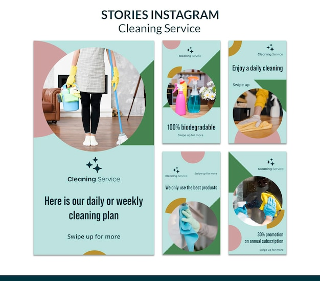 Instagram stories collection for house cleaning company Premium Psd