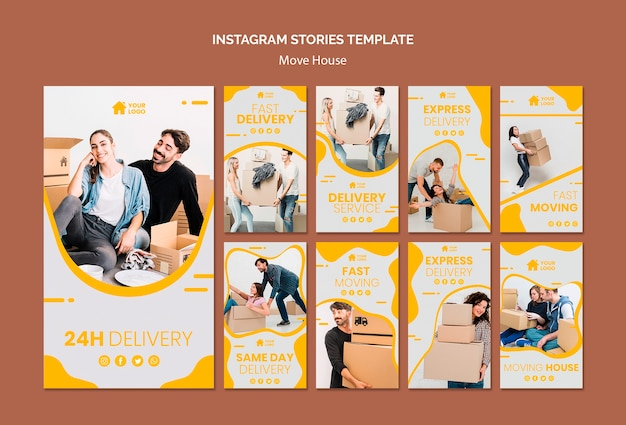 Instagram stories collection for house moving company Free Psd