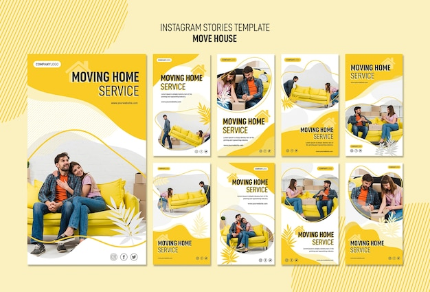 Instagram stories collection for house relocation services Premium Psd