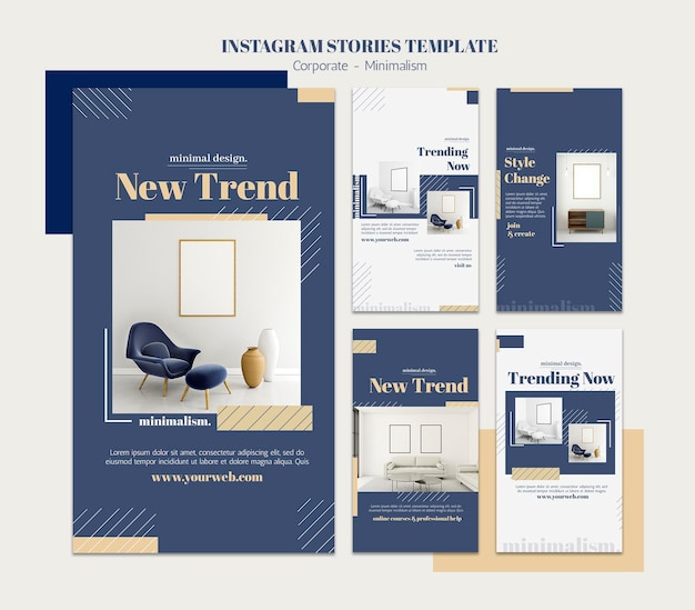 Instagram stories collection for interior design Premium Psd