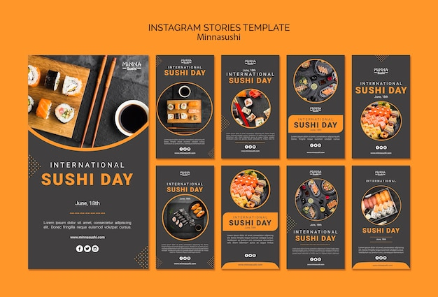 Instagram stories collection for international sushi day Free Psd