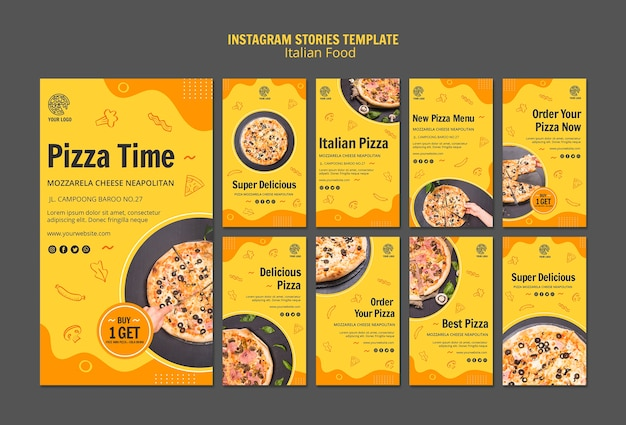 Instagram stories collection for italian food bistro Free Psd