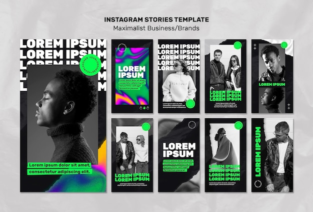Instagram stories collection for maximalist business Free Psd