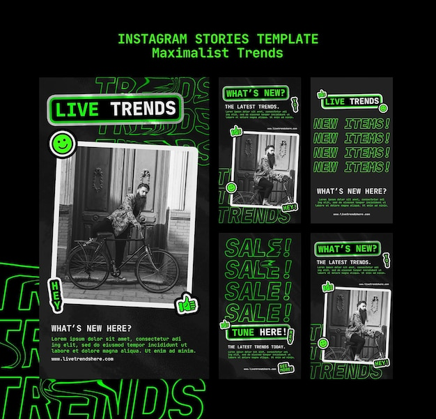 Instagram stories collection for maximalist trend Premium Psd