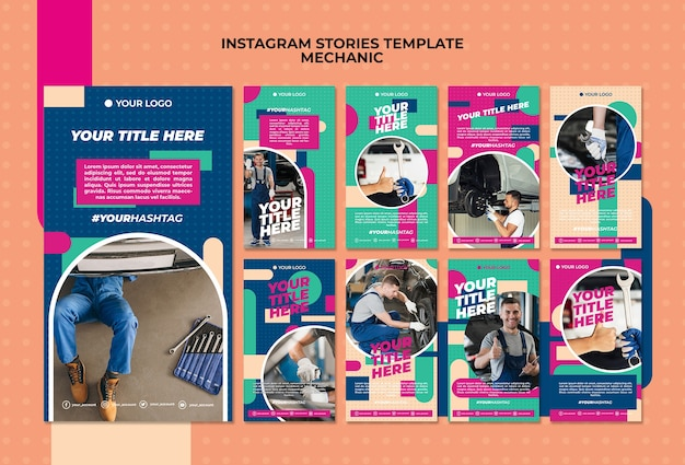 Instagram stories collection for mechanic Free Psd