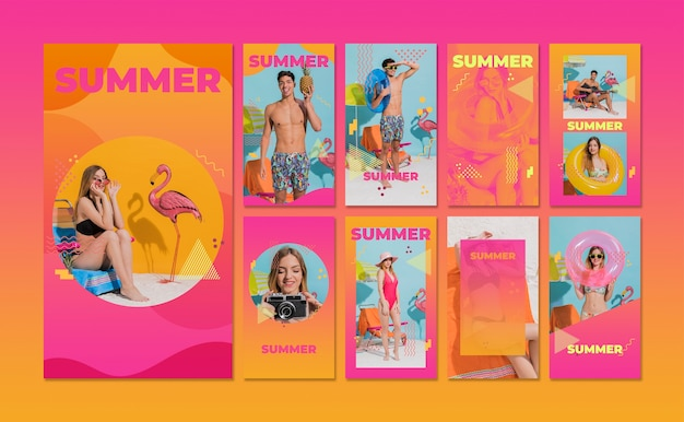 Instagram stories collection in memphis style with summer concept Free Psd