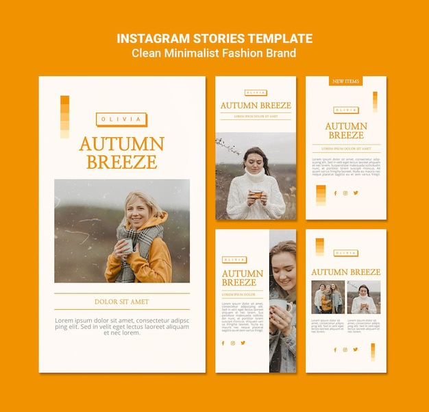 Instagram stories collection for minimalist autumn fashion brand Free Psd