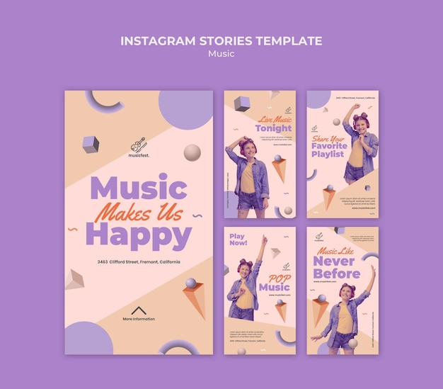 Instagram stories collection for music with woman using headphones and dancing Premium Psd