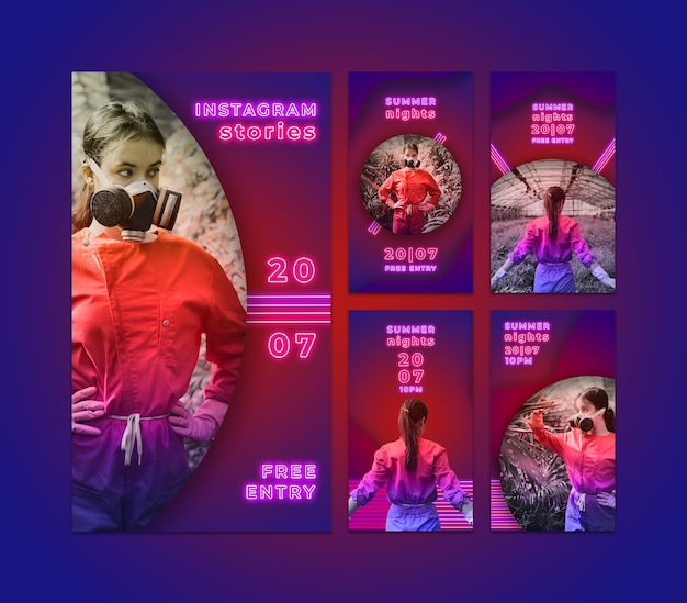 Instagram stories collection in neon style Free Psd