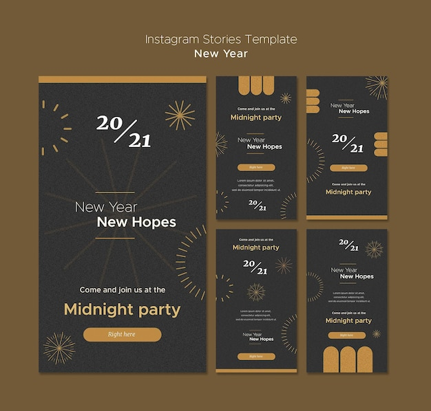 Instagram stories collection for new year's midnight party Premium Psd