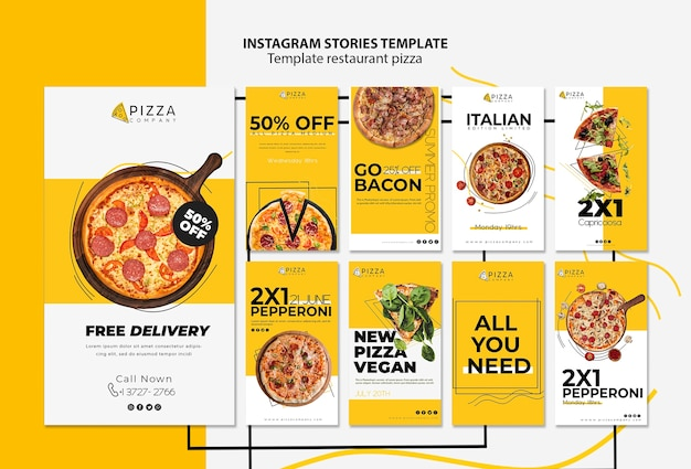 Instagram stories collection for pizza restaurant Premium Psd