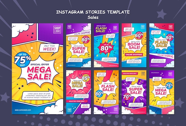 Instagram stories collection for sales in comic style