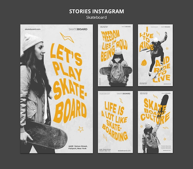Instagram stories collection for skateboarding with woman Premium Psd