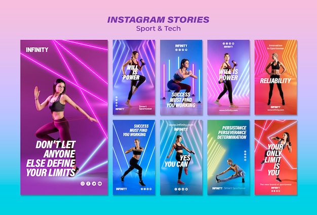 Instagram stories collection for sports and exercise Free Psd