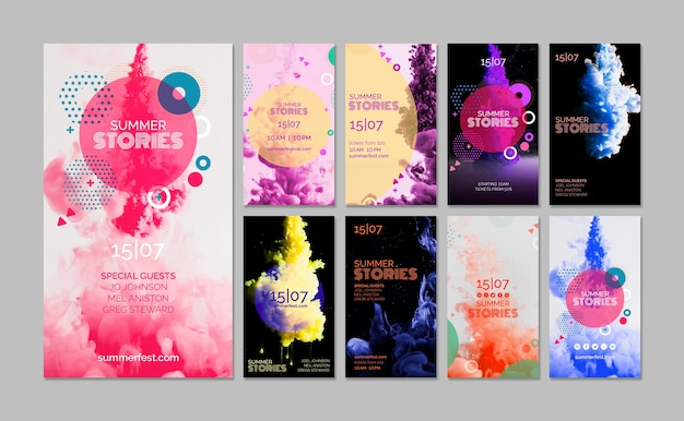 Instagram stories collection for summer festival Free Psd