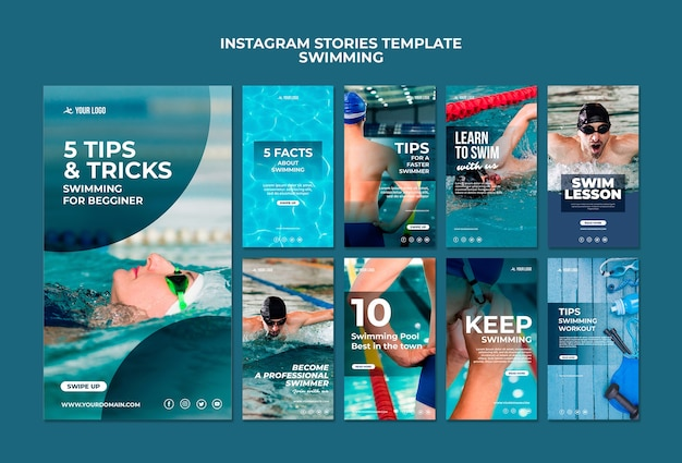 Instagram stories collection for swimming lessons Free Psd