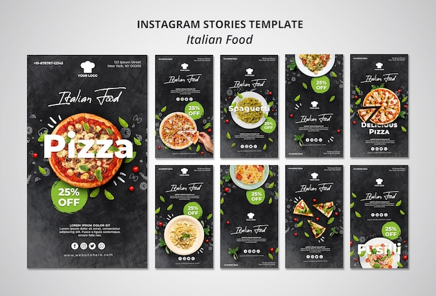 Instagram stories collection for traditional italian food restaurant Free Psd