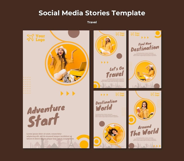 Instagram stories collection for traveling adventure time Free Psd