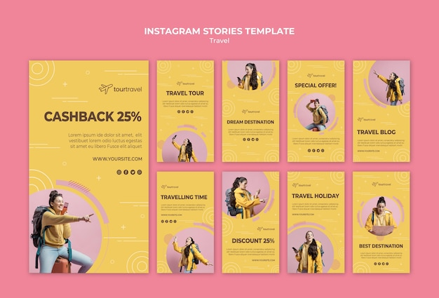 Instagram stories collection for traveling Free Psd