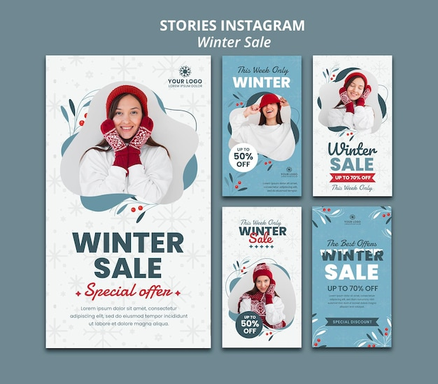 Instagram stories collection for winter sale Premium Psd