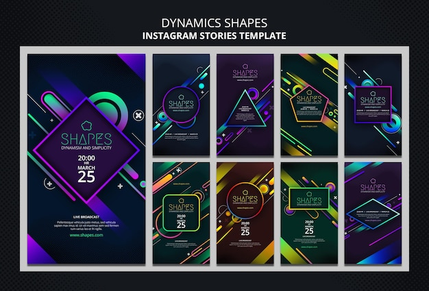 Instagram stories collection with dynamic geometric neon shapes Premium Psd
