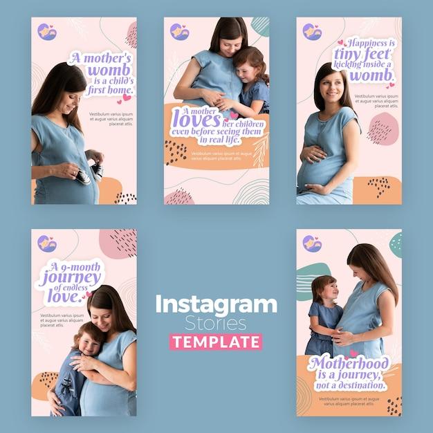 임산부와 Instagram 이야기 모음 프리미엄 PSD 파일