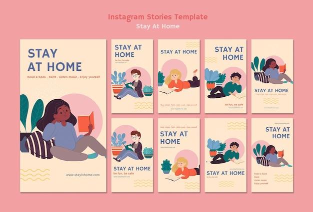 Сборник историй из инстаграм с пребыванием дома во время пандемии Бесплатные Psd