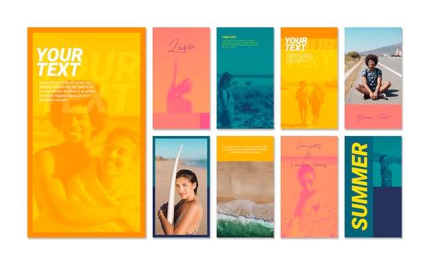 Instagram stories collection with summer sports concept Free Psd
