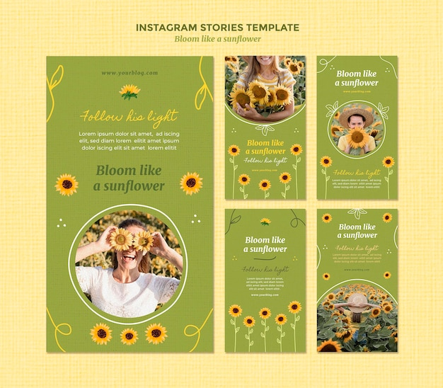 Instagram stories collection with sunflowers and woman Free Psd