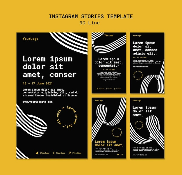 Instagram stories collection with three-dimensional lines Premium Psd