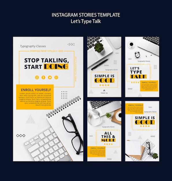 Raccolta di storie di instagram per la produttività del lavoro Psd Gratuite