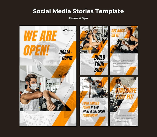 Instagram stories collection for working out at the gym during the pandemic Premium Psd